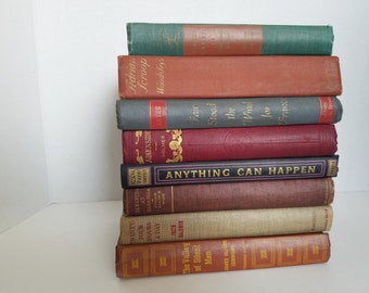 Vintage Shabby Chic Books; Rustic Old Decorative Books; Home or Wedding Decor; Instant Library