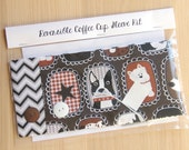 DIY Coffee Cup Sleeve Sewing Kit - Dogs and Chevrons - Ready to Ship