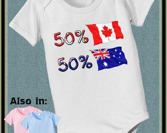 short sleeve and long sleeve 50 Canadian  50 Australian baby infant  Bodysuit Canada Australia heritage Nationality flag
