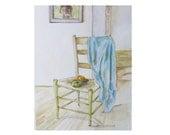 "Blue Shirt Draped Over Chair, Original Watercolor, 9"" x 12"""
