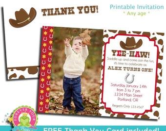 Cowboy Invitation / Cowboy Invite / Western Invitation / Cowboy Birthday / Cowboy Party / Western Invite / Cowboy Theme / Vintage Cowboy
