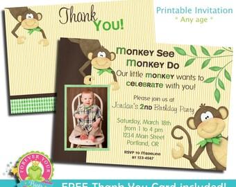 Monkey Birthday Invitation / Monkey Invitation / Monkey Party Invitation / Monkey Party Invite / Boys Birthday Invitation / First Birthday