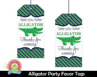 Alligator Favor Tags / Alligator Party / Alligator Birthday / Alligator Party Favors /  Alligator Gift Tags / INSTANT DOWNLOAD