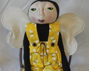 Primitive Bumble Bee, Cloth art doll, Bee art doll, hand made doll by Morning Mist Designs