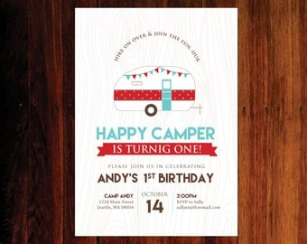 Happy Campber birthday invitation, camping birthday invitation - set of 15