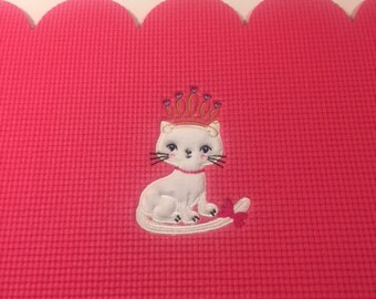 Custom Kitty Applique Embroidered Baby Mat-Fur Texture