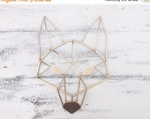 SUMMER SALE Fox~Geometric  Decor~Gold Geometric Art~Fox Head~Metal Fox Art~Modern~Minimalist~Fox Wall Art~Fox Wall Decor