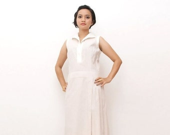 SUPER SALE ON Sale/Vintage 70s Dress/70s Retro Dress/Pink Striped Sleeveless Shirt Dress, Small