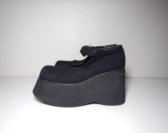 90s goth platform mary jane strap wool shoes size 7