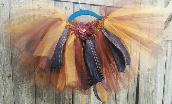 Shabby Chic country life tutu for toddlers 2-4 years  Denim and Tulle!