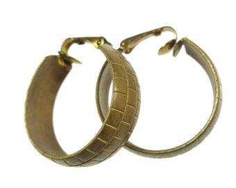Clip on earrings, raw brass big rounds