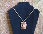 RESERVED for Leslie C Vintage 1970s Enamel Necklace Eisenberg 70s Peach Enamel Gold Tone Fish Necklace