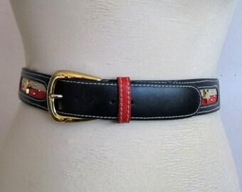 Vintage 70s Star Studded Belt Red Navy Beige Faux Leather Gold Buckle 1970s Ceinture Rouge Bleu Medium