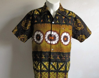 Vintage 1960s Hawaiian Shirt Kolekole Cotton Print Black Ochre Tiki Short Sleeve Mens Summer Shirts Med