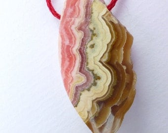 Rhodochrosite Bead. Natural Gemstone Mineral. Maple Glazed Bacon. Gorgeous Pattern. Glossy Polish. 1 pc. 40.85 cts. 17x36x6 mm (RHC117)