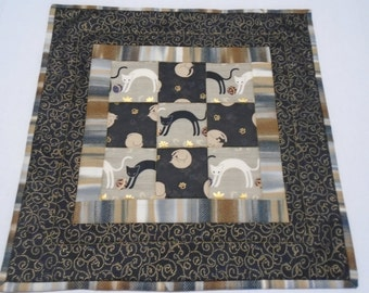 Kitty Quilted Table Topper, Quilted Table Runner, Black and Gold, Playful Cats and Kitties, Handmade Table Runner, Table Centerpiece