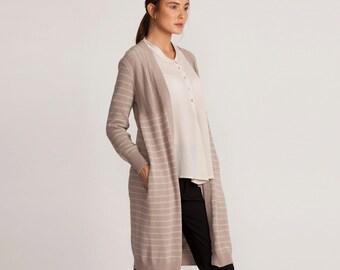 Pink stripes long jacket, loose fit open jacket, knee length jacket, winter sale, knitted cardigan, long sleeves, minimal style, pink top