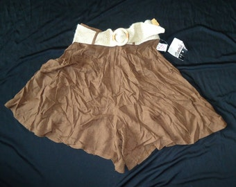 Chocolate Brown High Waisted Vintage 1980's NWT Women's Belted Shorts XS S