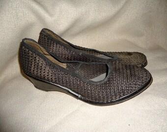 Sheer Black Mesh Vintage 1940's WWII Women's Wedge Heel Shoes 8.5