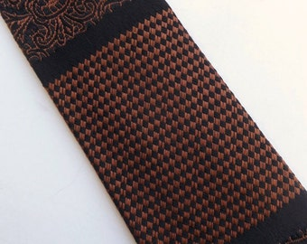 Vintage 60's Skinny Tie Necktie in Brown and Black Weave with Patterned Stripes Beau Brummell