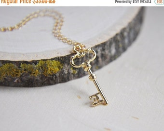 SALE Key Necklace, Gold Key Necklace, Key to your heart, 14k gold filled necklace, Love Necklace, Gifts for her, Skeleton Key, Good Luck Cha