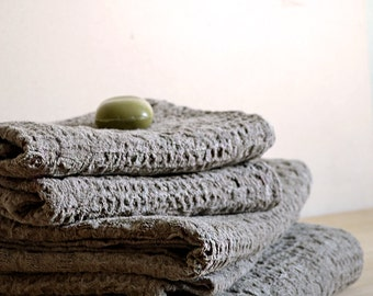 Natural Towels Set of 4 Towels Massage Linen Towels Wafer Towels Rustic Washed Undyed Eco Friendly Towels Rustic Set of Towels Bath Towels