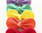 Girls Hair Ties - Toddler Hair Ties - Baby Hair Ties - Felt Hair Bow - Felt Hair Tie - Rainbow Hair Tie - Rainbow Hair Tie Set Hair Tie Set