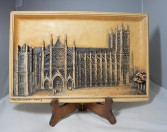 Large Hanging IVOREX Plaque by Osborne – Westminster Abbey – Incredibly Detailed Bas Relief Wall Plaque
