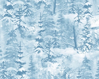 Wilmington Winter Whispers Michelle Mara Collection 1/2 Yard Blue Trees All Over # 38533-441 Free Shipping