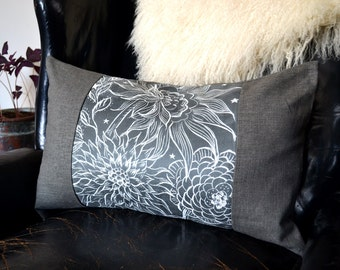 Grey and White Pillow , Gray Floral Pillow, 14x22 Lumbar Pillow Cover, Colorblock Pillow, Scratchboard Art on Faux Suede, Night Garden
