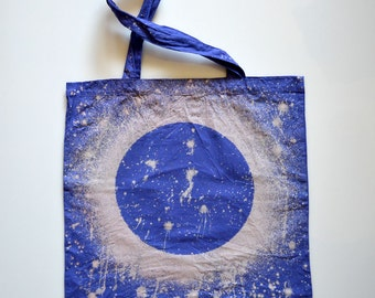 Bleached Eclipse Tote - MOON Print Galaxy Bag - Blue Moon Tote - Lunar - Hand Dyed Bleached Cotton Canvas Tote Bag
