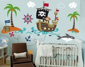 Nursery wall decal - Wall Decals Nurseryl - Pirate world decal - custom name -ship decal - Wall Decal - pirates decals - Nursery