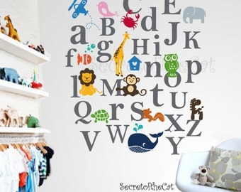 Kids  Alphabet vinyl decal - ABC decal - A to Z letters - nursery decal - wall sticker - children decal