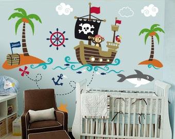 Nursery Wall Decal   Wall Decals Nurseryl   Pirate World Decal   Custom  Name  Ship Part 58