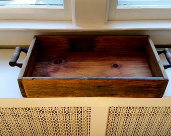Salvaged wood box, vintage wood box/tray, vintage wood serving tray