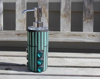 Mint green art glass mosaic soap/lotion dispenser, soap dispenser, lotion dispenser, mosaic dispenser, glass mosaic dispenser