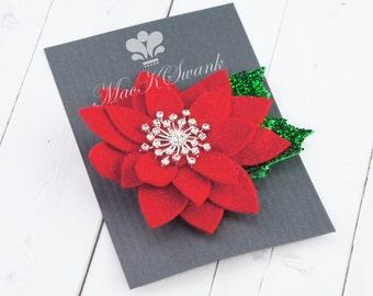 Christmas Hair Clip - Red Poinsettia Hair Clip - Felt Flower Hair Clip - Rhinestone Hair Clip - Glitter Hair Clip - Gift Under 20
