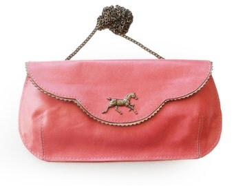 Free shipping Salmon pink evening bag, pink leather purse, crosbody horse purse, women's clutch wallet