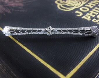 White Gold Filigree Bar Pin
