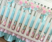 Pink and blue floral Rail cover
