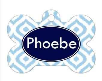 Personalized Pet ID Tag - Phoebe Custom Name Ikat Bone Pet ID Tag, Dog Tag