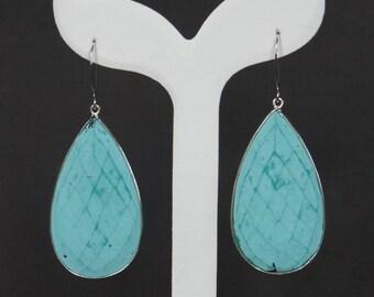 Turquoise Earrings, Sterling Silver, 24K Gold Vermeil, Gold Filled, Extra Large, Handmade Earrings, Drop Earrings, Birthday Gift