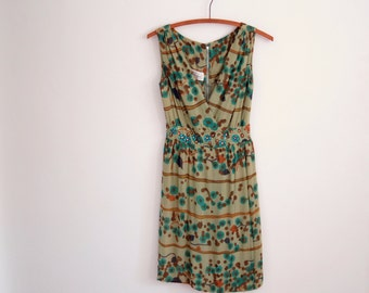 green cocktail dress - 50s vintage abstract painterly floral print copper brown jewel tone rhinestone party dress sleeveless small medium