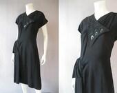 1940s Black Beaded Dress - 40s Draped Crepe Cocktail Party Dress