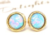 Opal Stud earrings,Opal stud earrings,Blue sky Opal earrings,Gold Opal earrings,Gift for woman, Christmas Gift, Blue Opal Earrings
