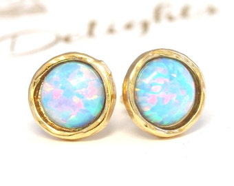 Opal Stud earrings,Opal stud earrings,Blue sky Opal earrings,Gold Opal earrings,Gift for woman, Christmas Gift, Blue Opal Earrings