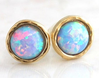 Opal Earrings,Opal stud earrings,Blue Opal earrings,Gold Opal earrings,Gift for woman,Christmas Gift, Dainty Opal earrings.
