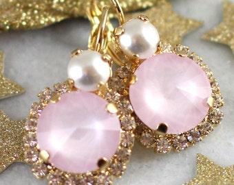 Blush Pink White Pearl earrings, Swarovski Rose Quartz  earrings,Pink Pearl earrings Bridesmaids earrings,Gift for her,Rose Quartz Earrings
