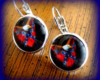 CIVIL WAR themed EAGLE and Flag Earrings