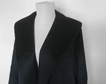 SHOP SALE! Vintage Black Wool Car Coat / Hollywood Glam / Bat Wing Sleeve / Oversized / Minimalist
